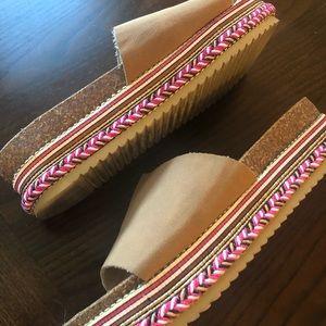 Slide Platform Sandals Pink & Brown Size 7